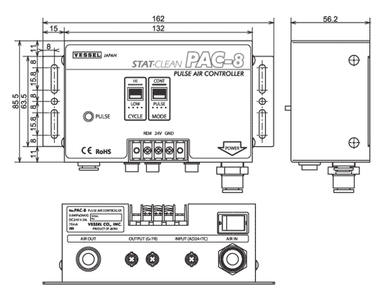 PAC-8 Pulse Air Controller Dimensions